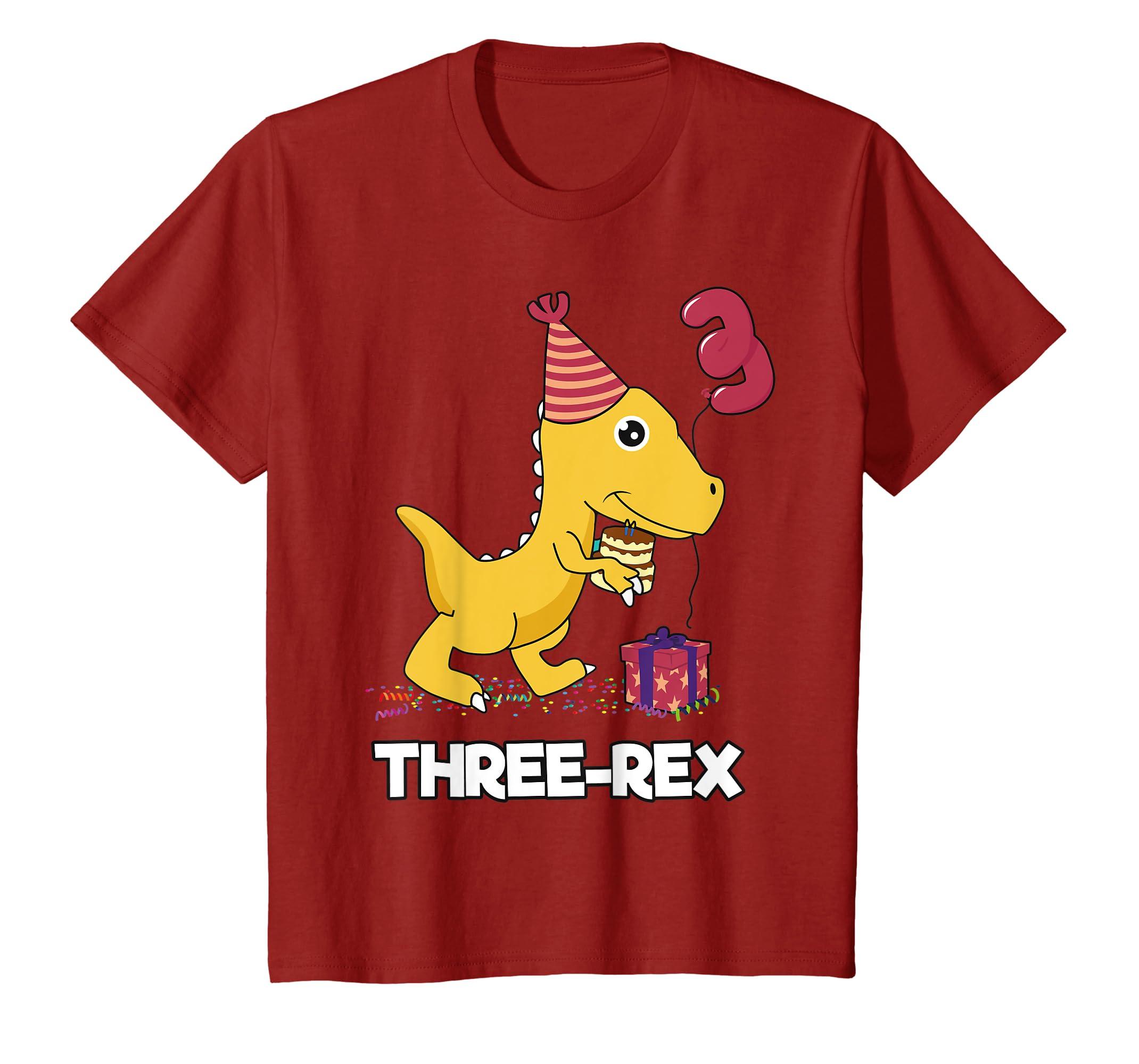 Amazon Kids 3 Year Old Birthday Gift Boy Shirt Dinosaur Three Rex Clothing