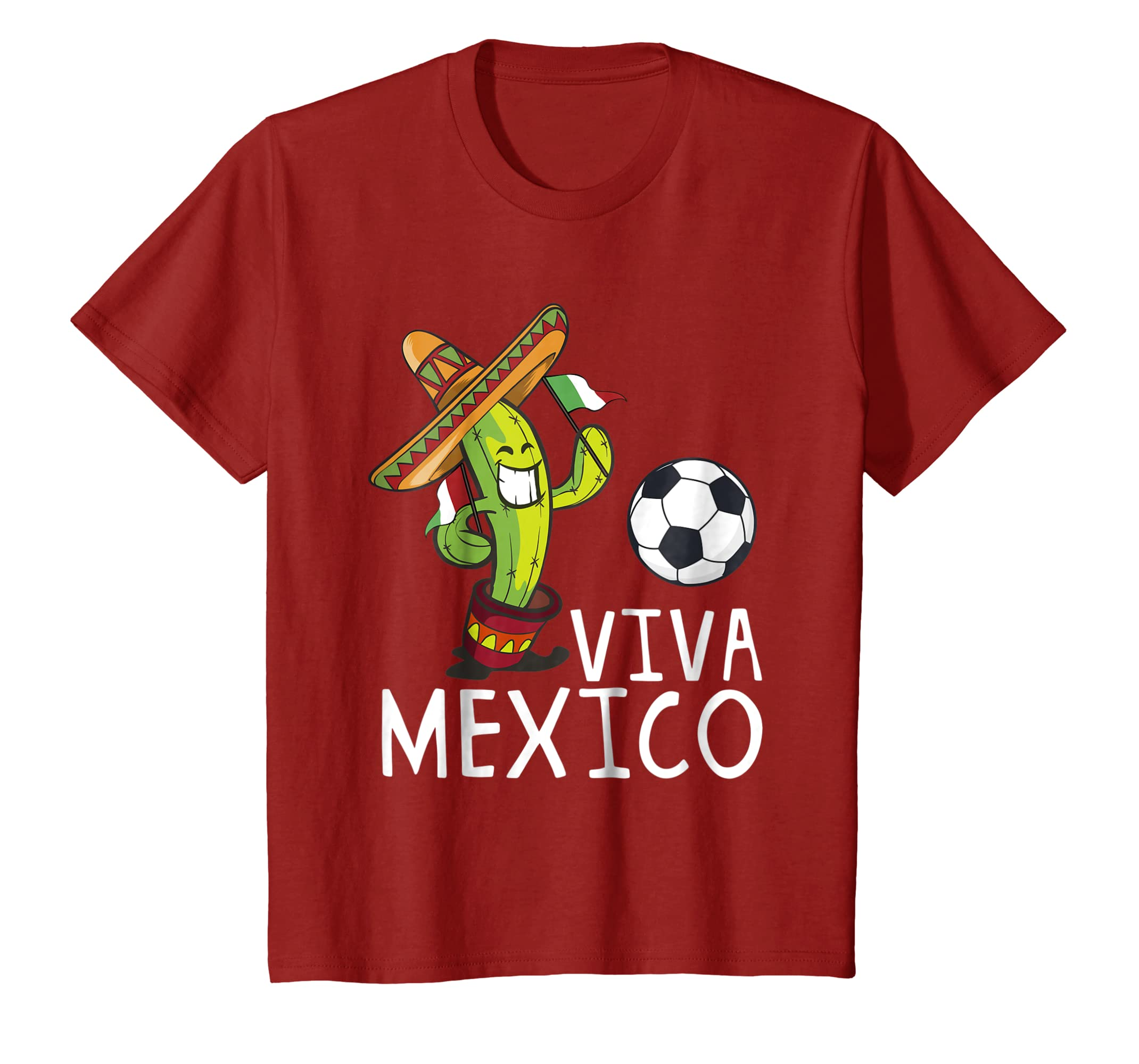 Amazon.com: Viva Mexico con cactus y balon-Mundial de Futbol camiseta: Clothing