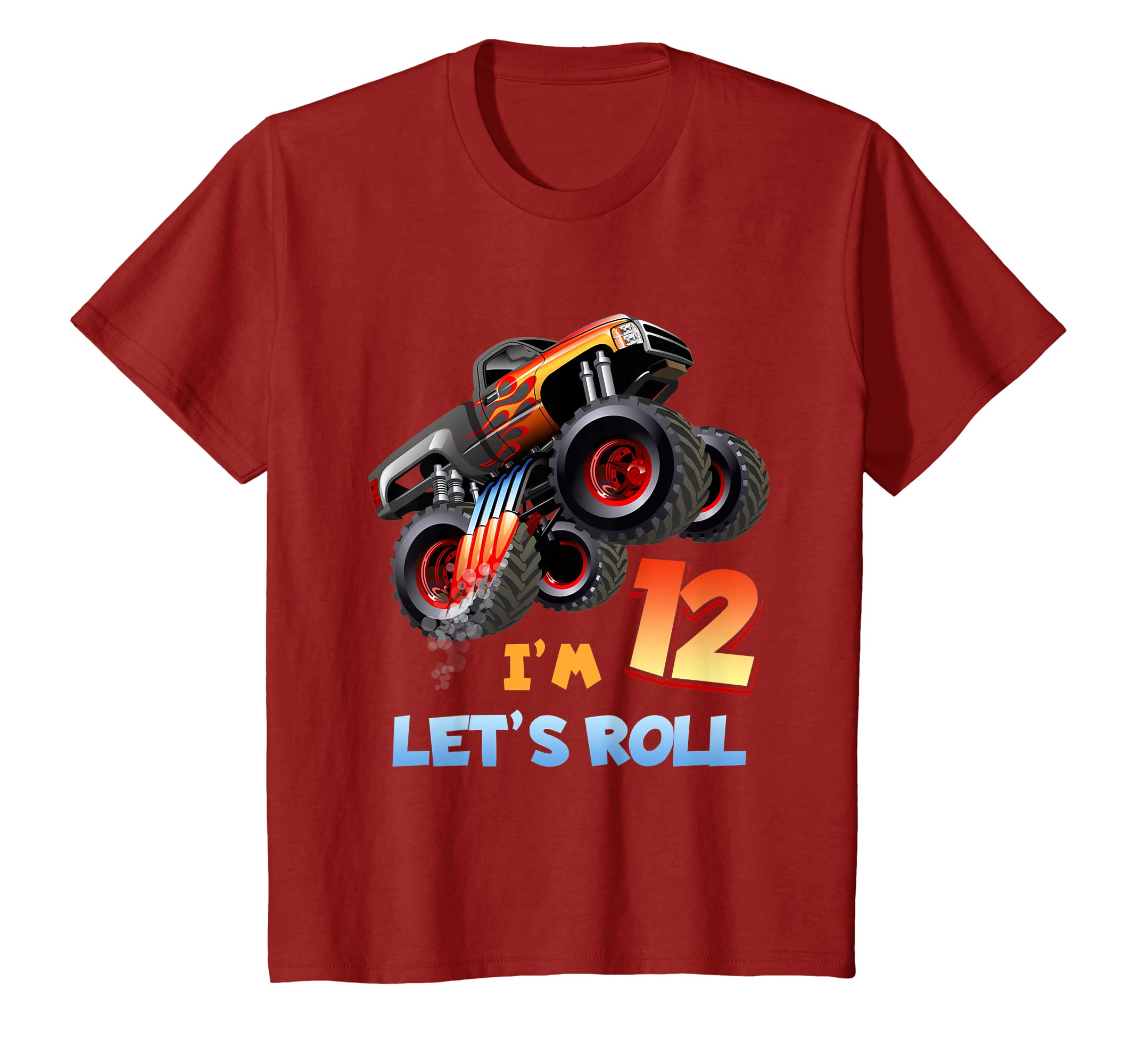 Amazon 12th Birthday Monster Truck Funny T Shirt For Kids Clothing