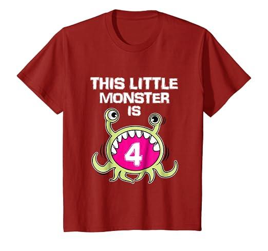 Kids 4th Birthday Girls Monster T Shirt Funny 4 Year Old