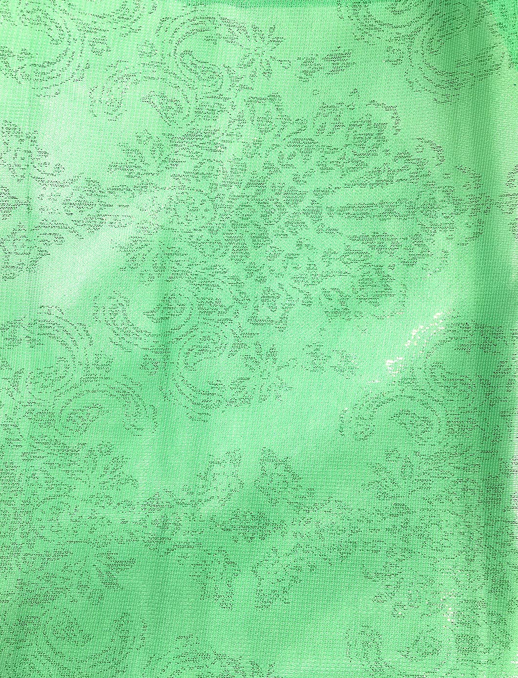 Mesh Stretch Pastel Green Fabric with Silver Pasley Shimmer Lurex Design ~ 2 Yds~ 58