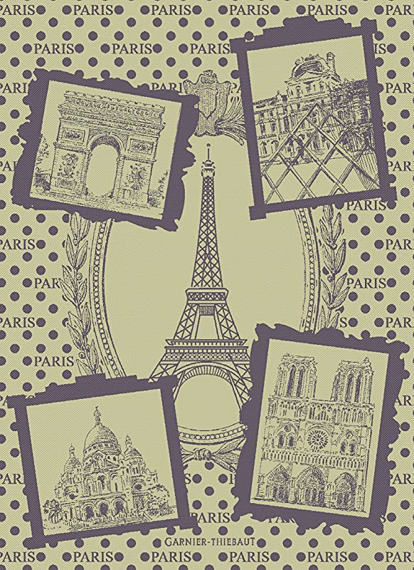 Garnier Thiebaut Paris Monuments Olive 22 By 30 French Kitchen Towel 100 Two Ply Twisted Cotton Cotton Made In France