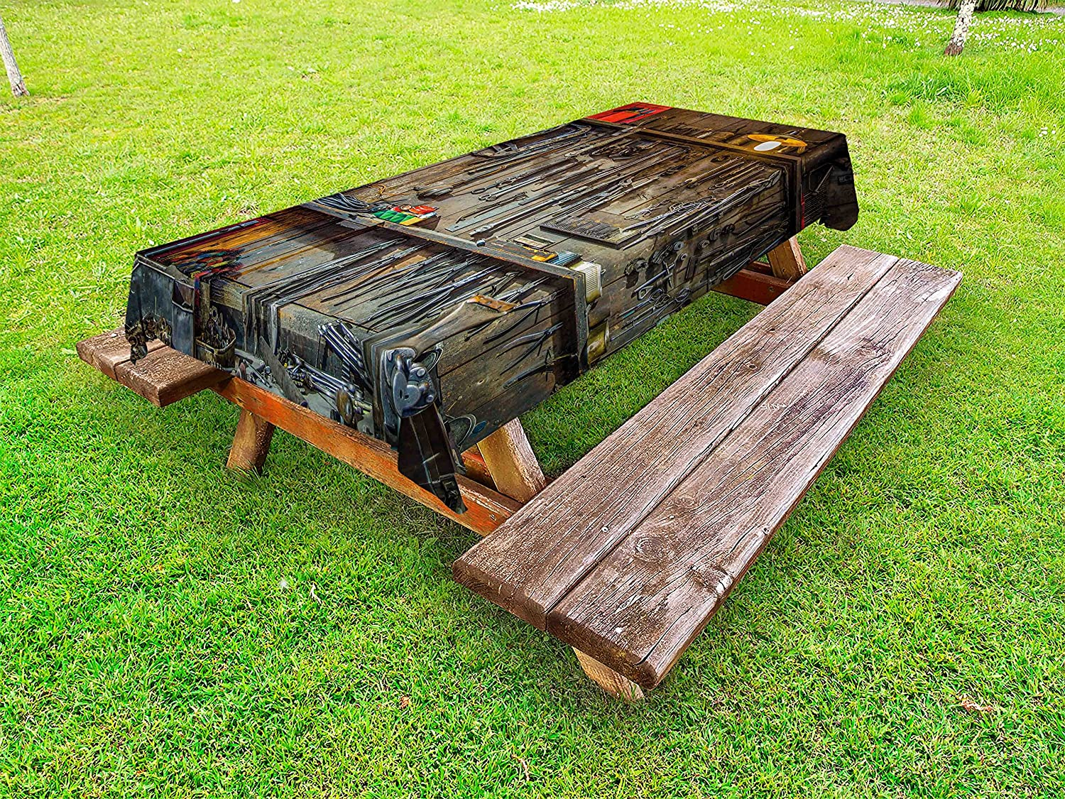 Lunarable Man Cave Outdoor Tablecloth Vintage Hangi 70% OFF Outlet Style Tools Ranking TOP2