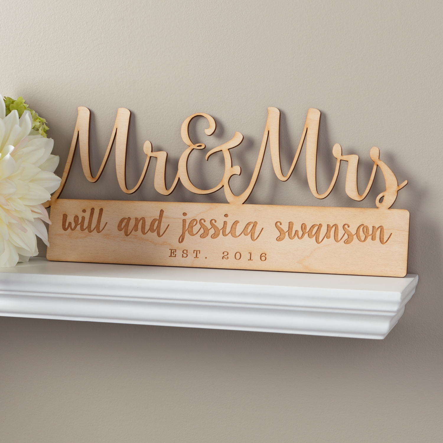Mr. & Mrs. Personalized Wood Plaque - Wall Art & Prints - Wedding | Personalized Planet