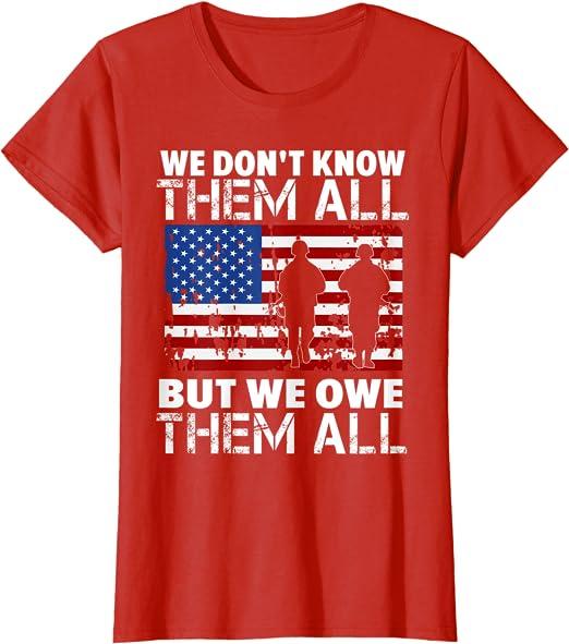 Military Veteran We Owe Them All Mens Short Or Long Sleeve Patriotic T Shirt