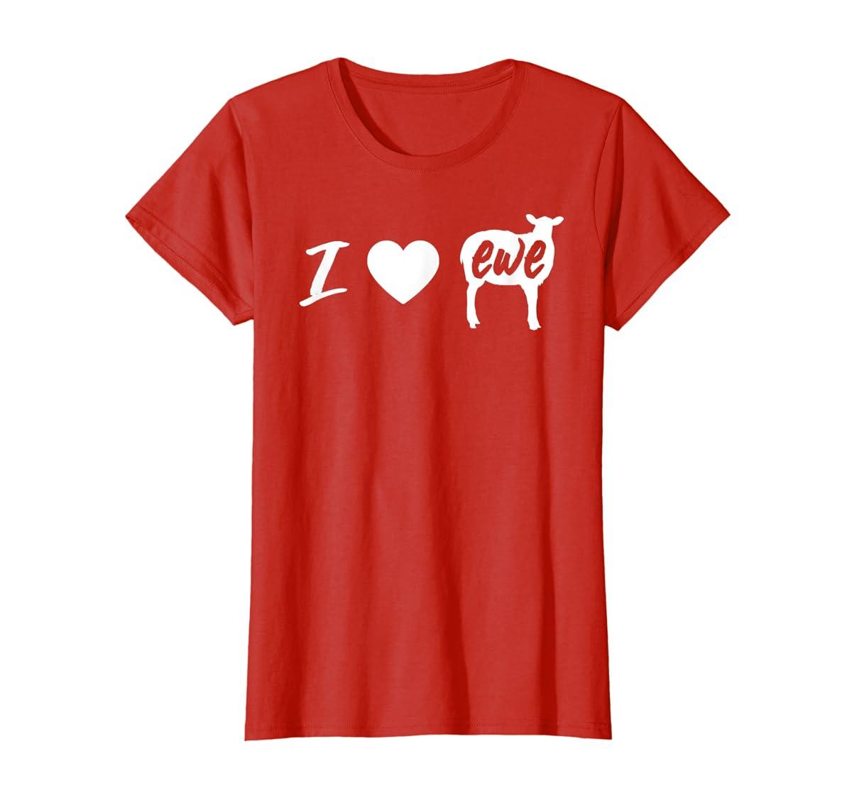 I Love Ewe - I Love You Sheep Pun Shirt-Women's T-Shirt-Red