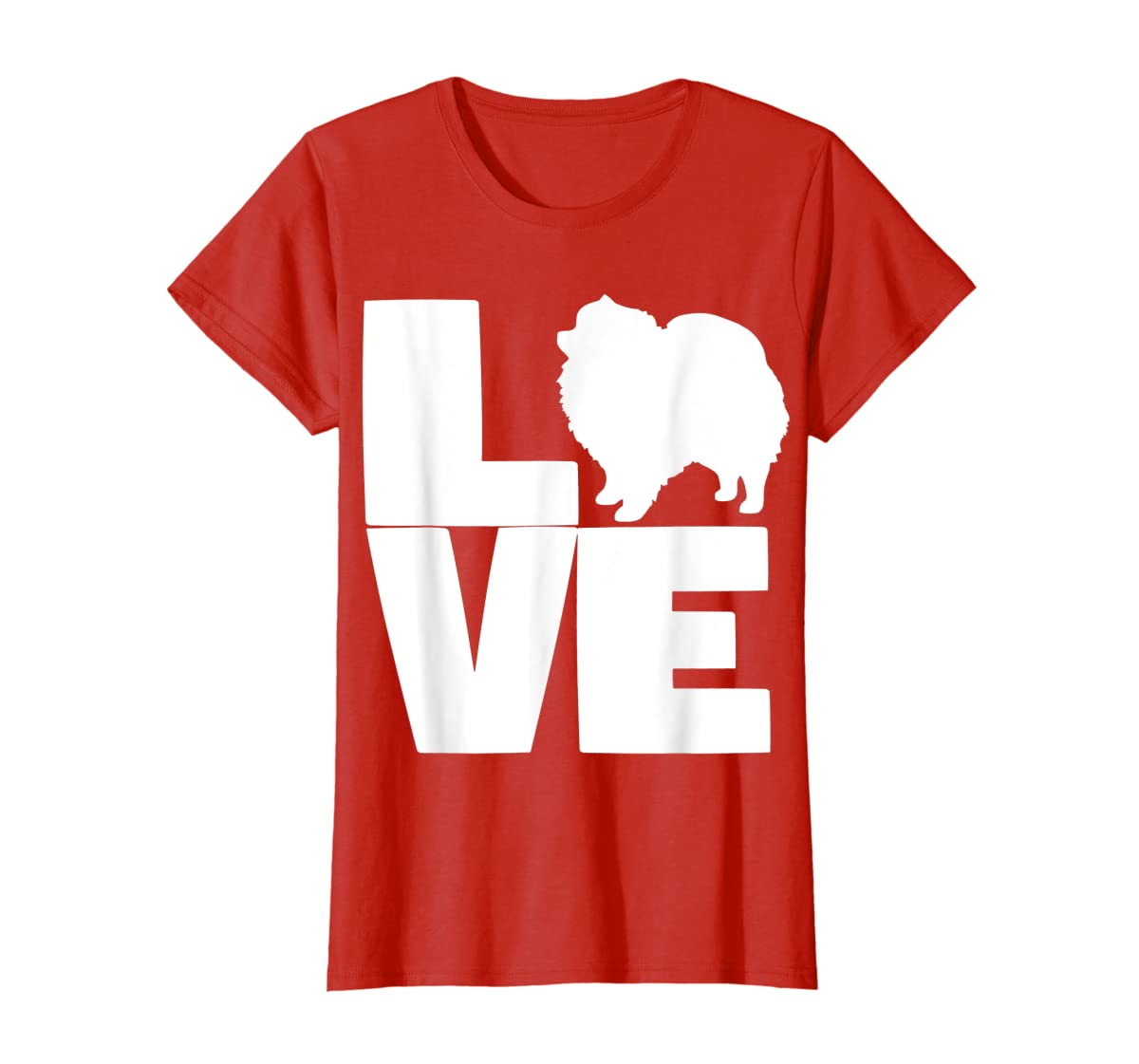 I Love Pomeranians Pom Mom or Dad Pet Lover T Shirt-Women's T-Shirt-Red