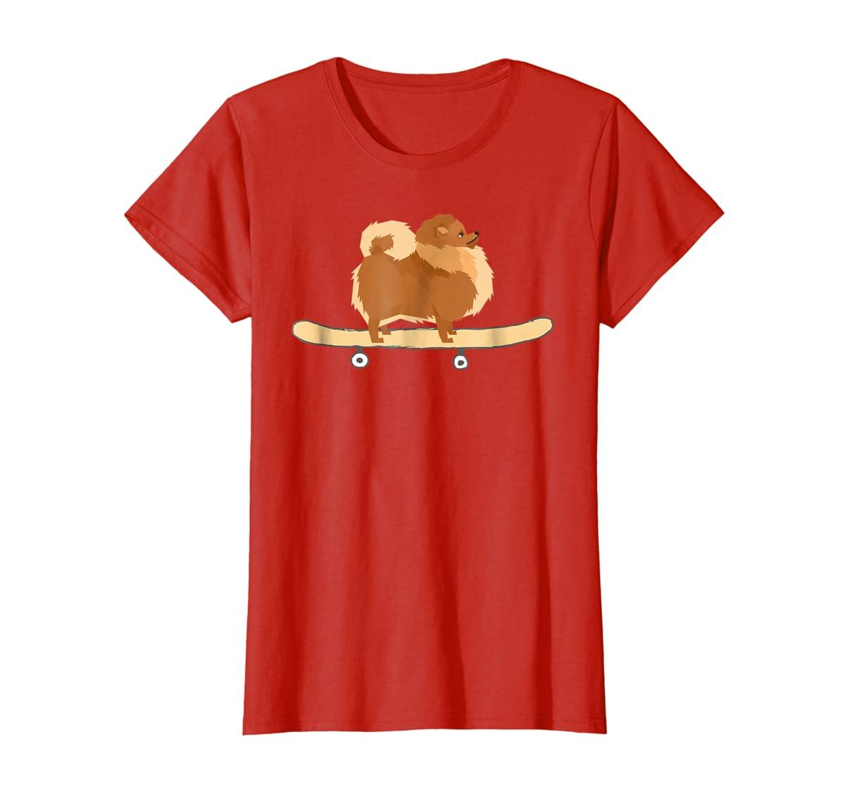 Funny Skateboarding Pomeranian Pom Puppy T-Shirt Gift-Women's T-Shirt-Red