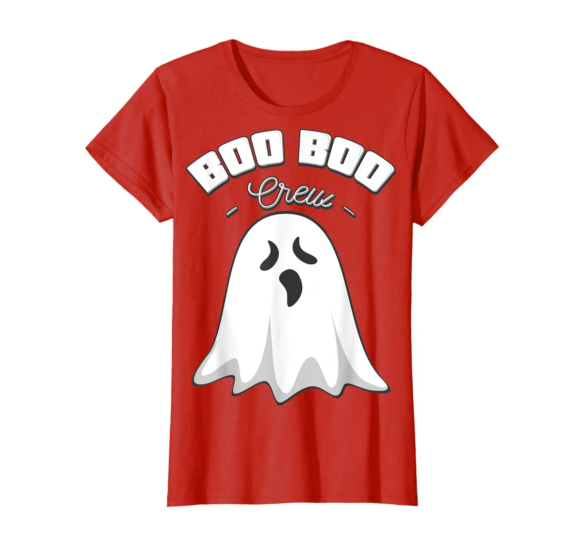 Boo Boo Crew Ghost Funny Halloween Black and Orange Night T-Shirt-Women's T-Shirt-Red