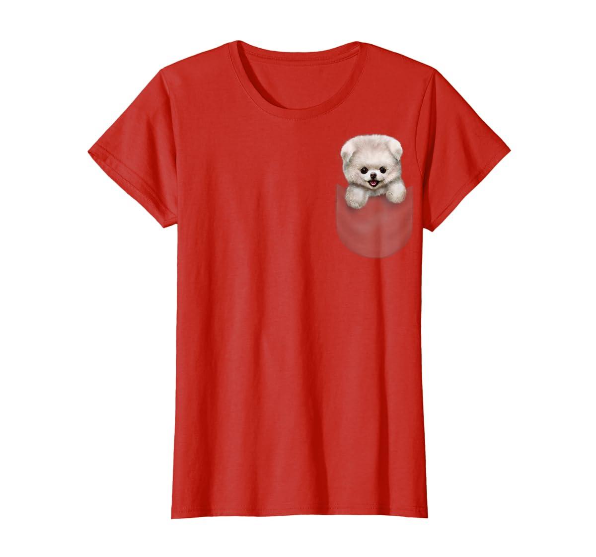 T-Shirt, Cute White Fluffy Pomeranian Puppy in Pocket, Dog-Women's T-Shirt-Red