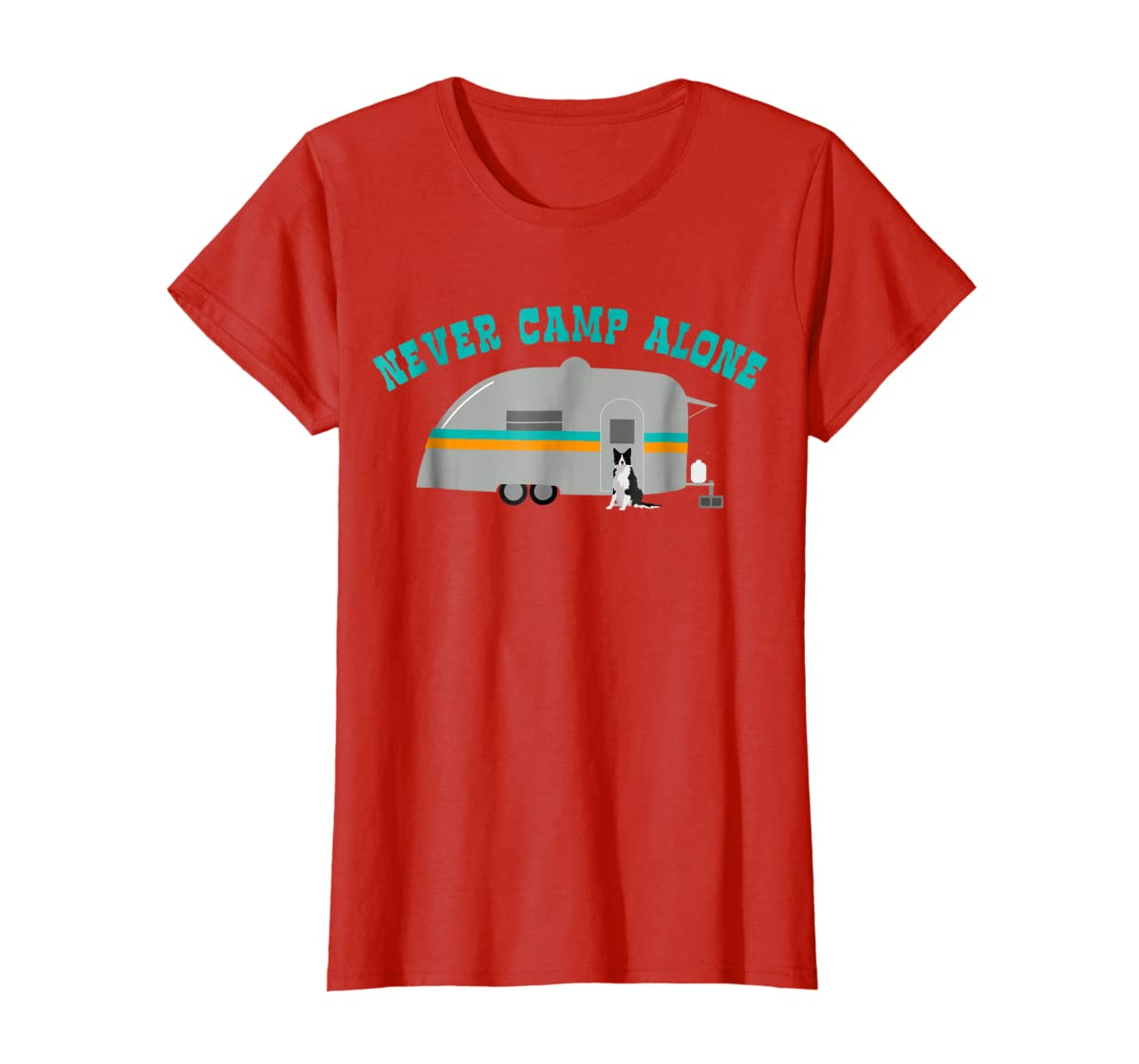 Border Collie Dog RV Shirt Funny Camping Travel Trailer-Women's T-Shirt-Red