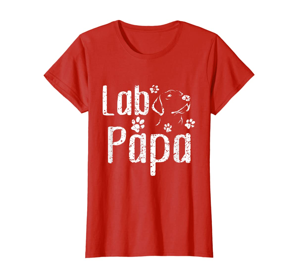 Lab Papa Labrador Retriever Vintage Tee Cute Lover Dog Dad T-Shirt-Women's T-Shirt-Red