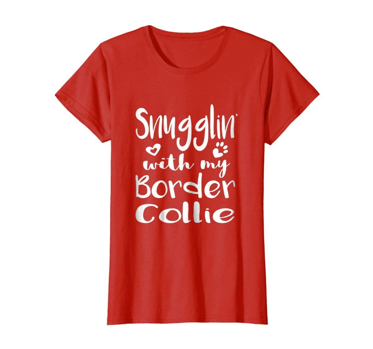 Snuggling with my Border Collie Shirt - Dog Mom pajamas-Women's T-Shirt-Red
