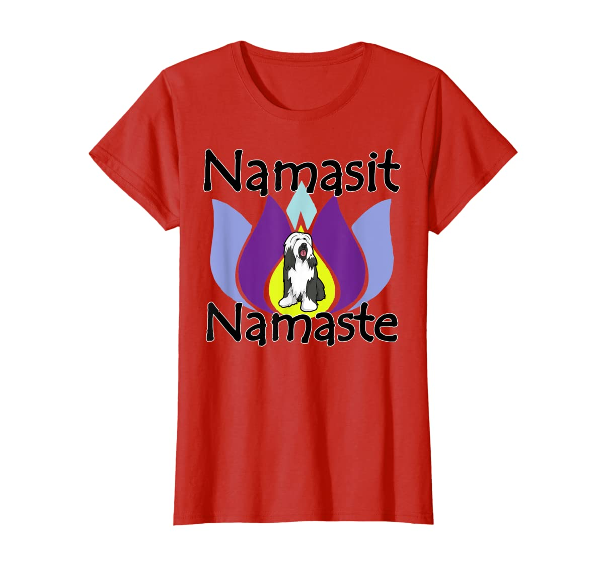Namasit Namaste Bearded Collie Dog Yoga shirt-Women's T-Shirt-Red