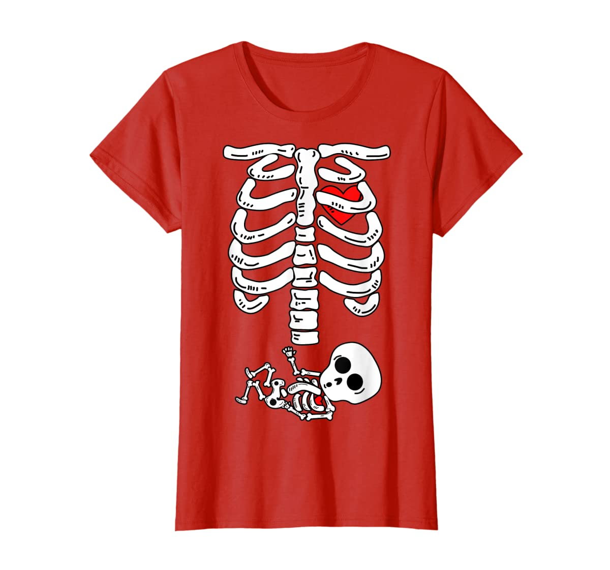 Skeleton Pregnancy Halloween Costumes For Couples T-Shirt-Women's T-Shirt-Red