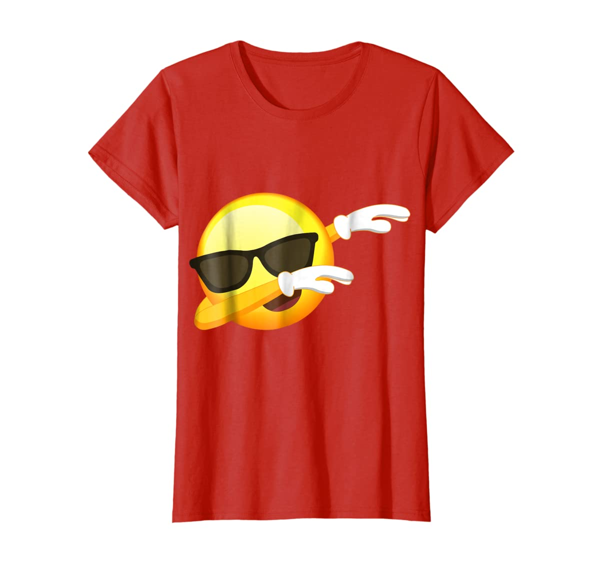 Funny Dabbing Emoji Shirt - Cool Emoji Dab T-Shirt-Women's T-Shirt-Red