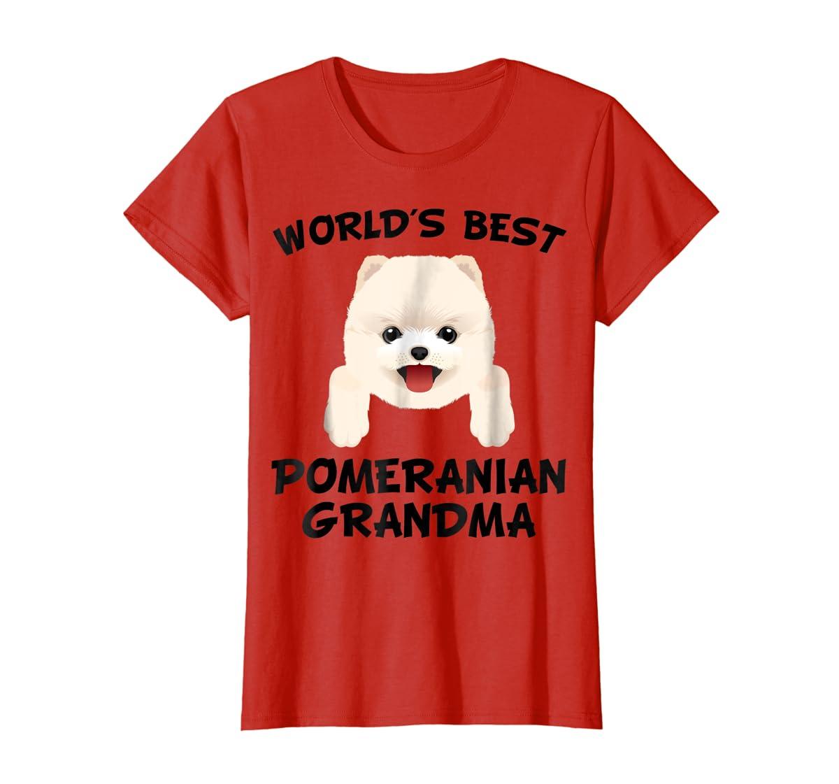 World's Best Pomeranian Grandma Dog Granddog T-Shirt-Women's T-Shirt-Red