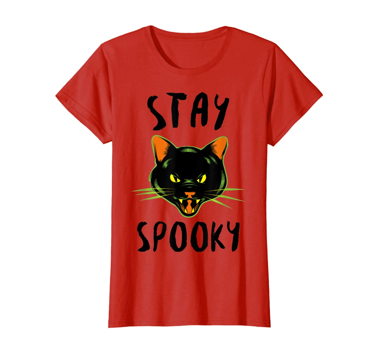 Stay Spooky | Scary Halloween Black Cat T-Shirt-Women's T-Shirt-Red