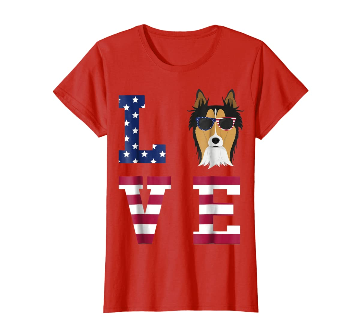 Collie Dog - 4th Of July T-Shirt-Women's T-Shirt-Red