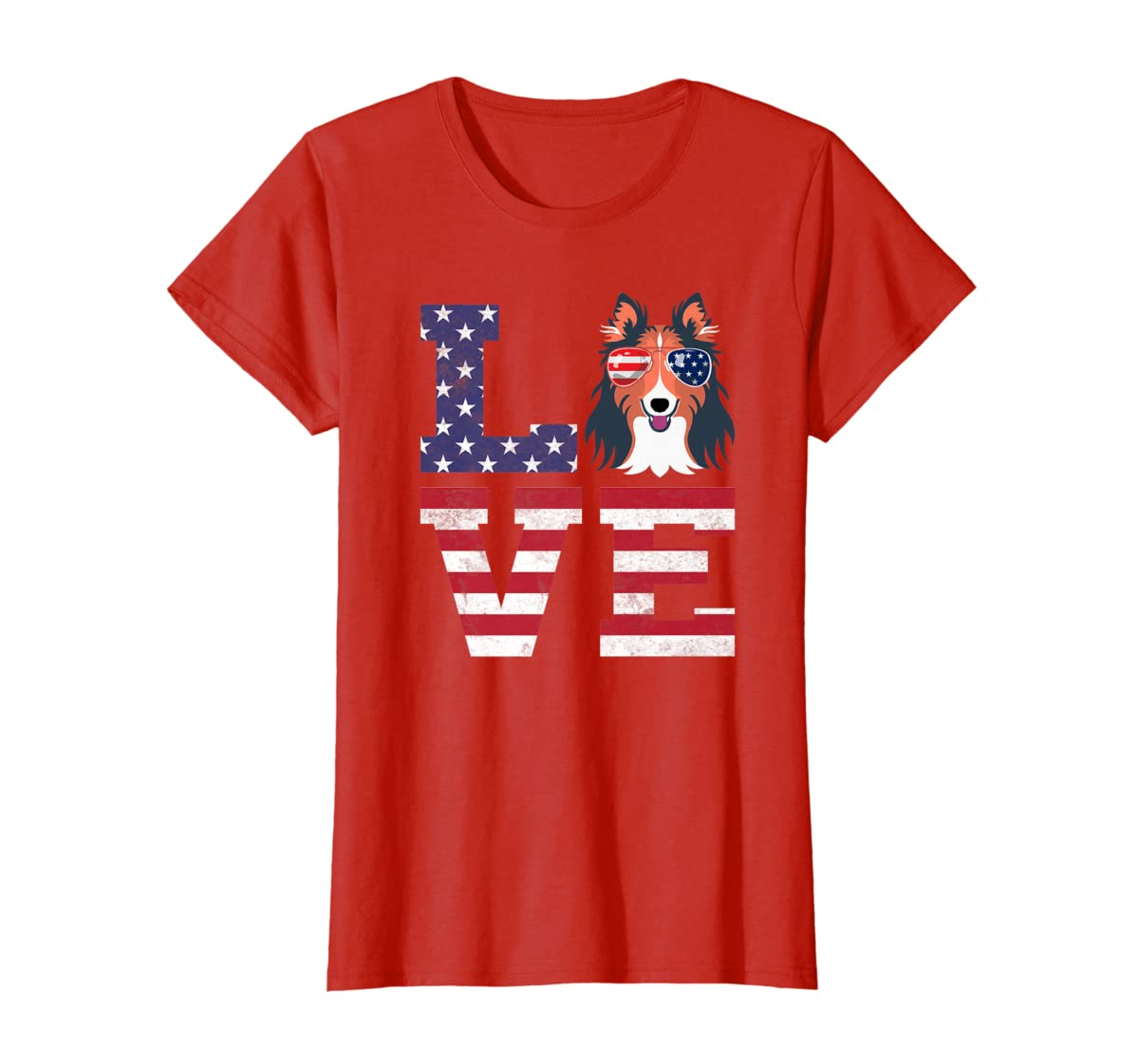 Love Rough Collie Dog American Flag 4th of july Shirt-Women's T-Shirt-Red