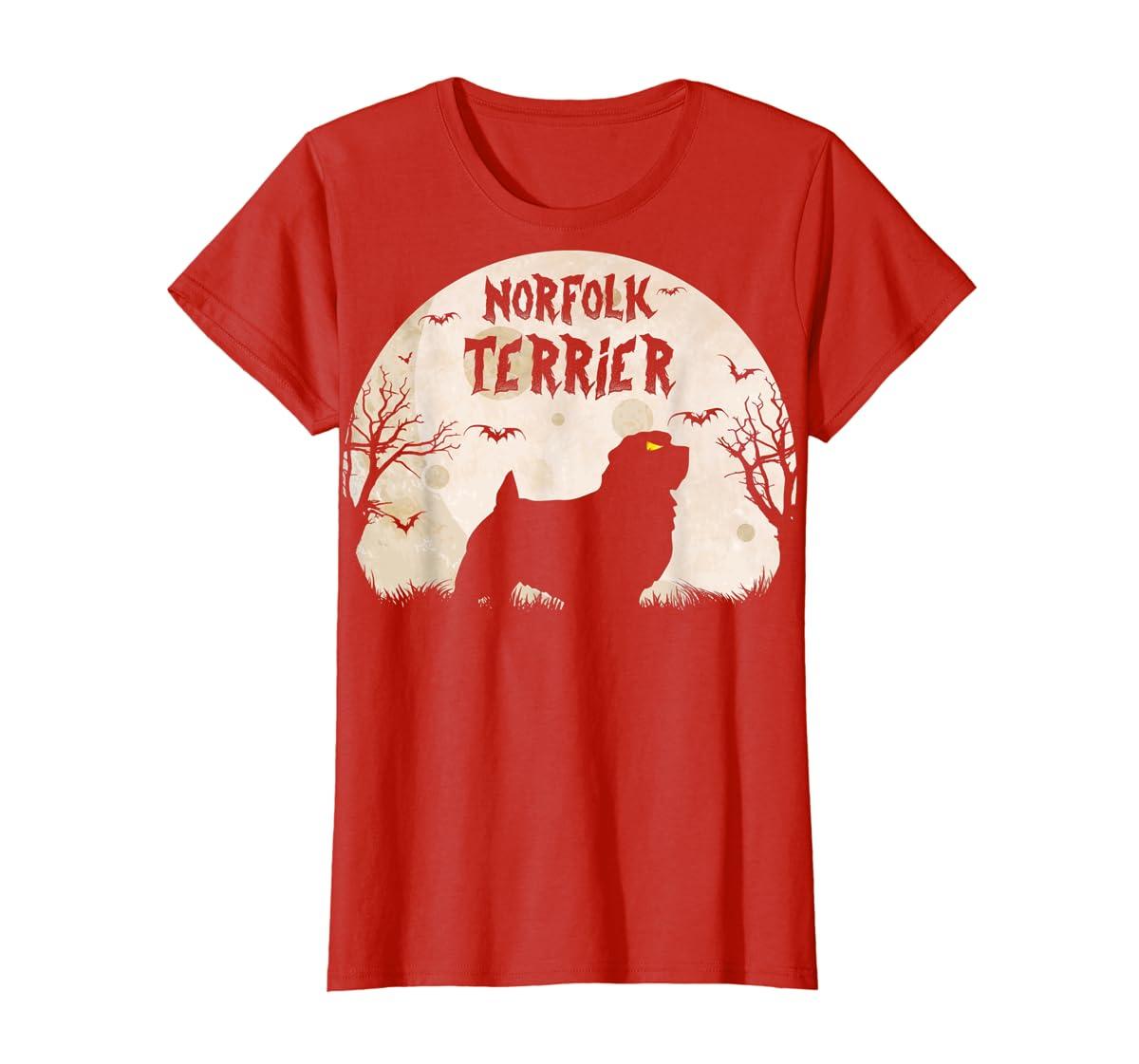 Halloween Horror Norfolk Terrier T-Shirt-Women's T-Shirt-Red