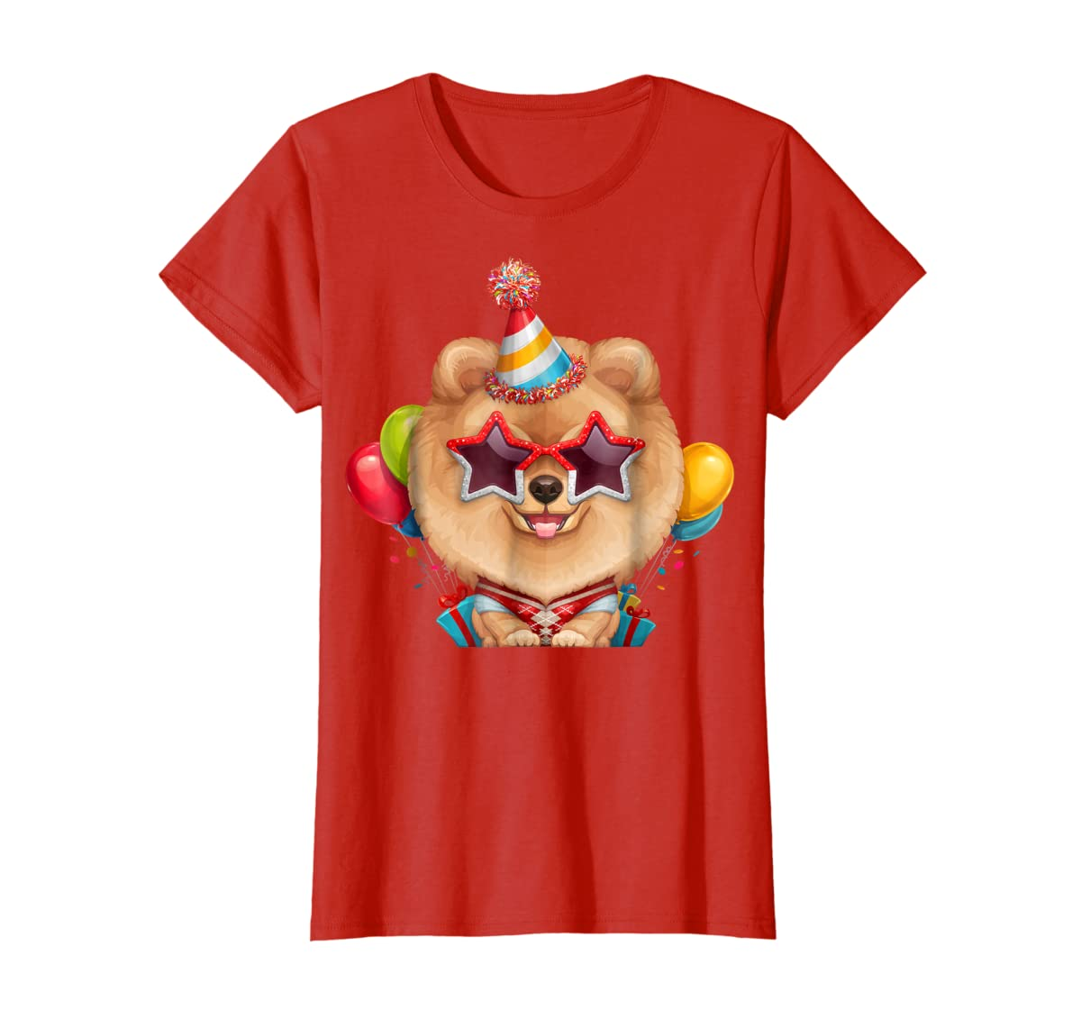 Orange Pomeranian in Glasses Birthday T-Shirt-Women's T-Shirt-Red