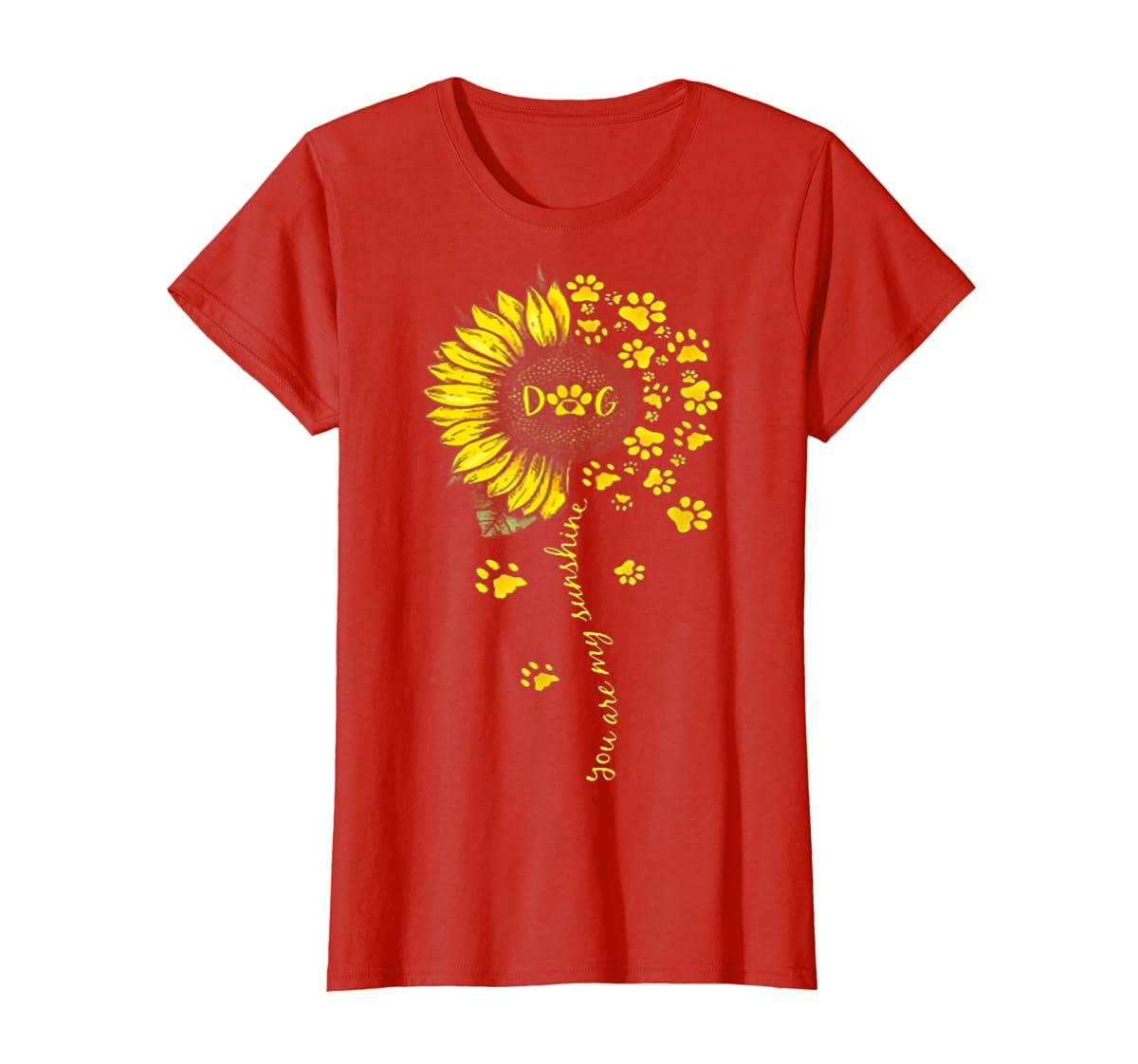 You Are My Sunshine Dog Tshirt-Women's T-Shirt-Red