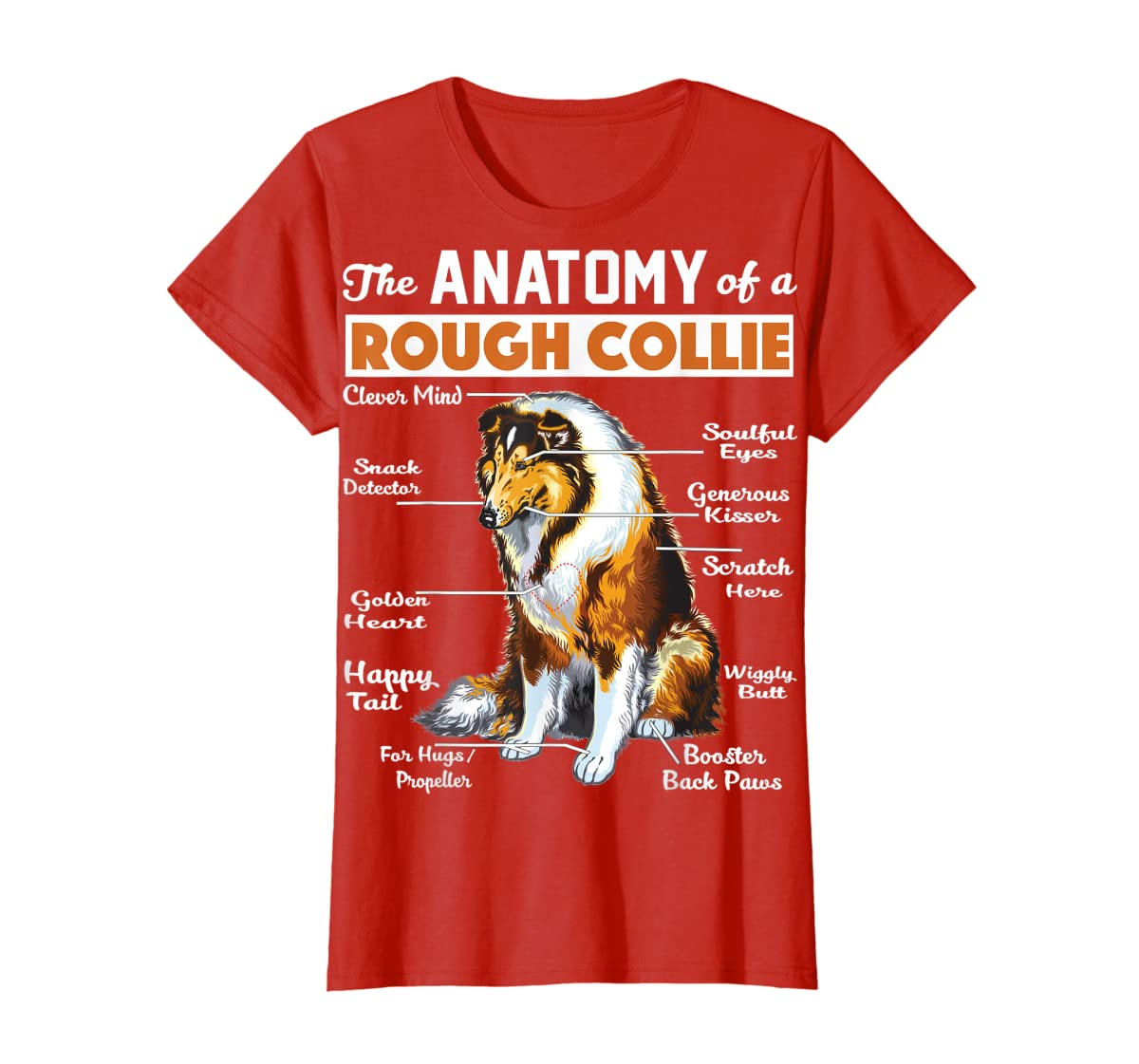 The Anatomy Of A Rough Collie-Women's T-Shirt-Red