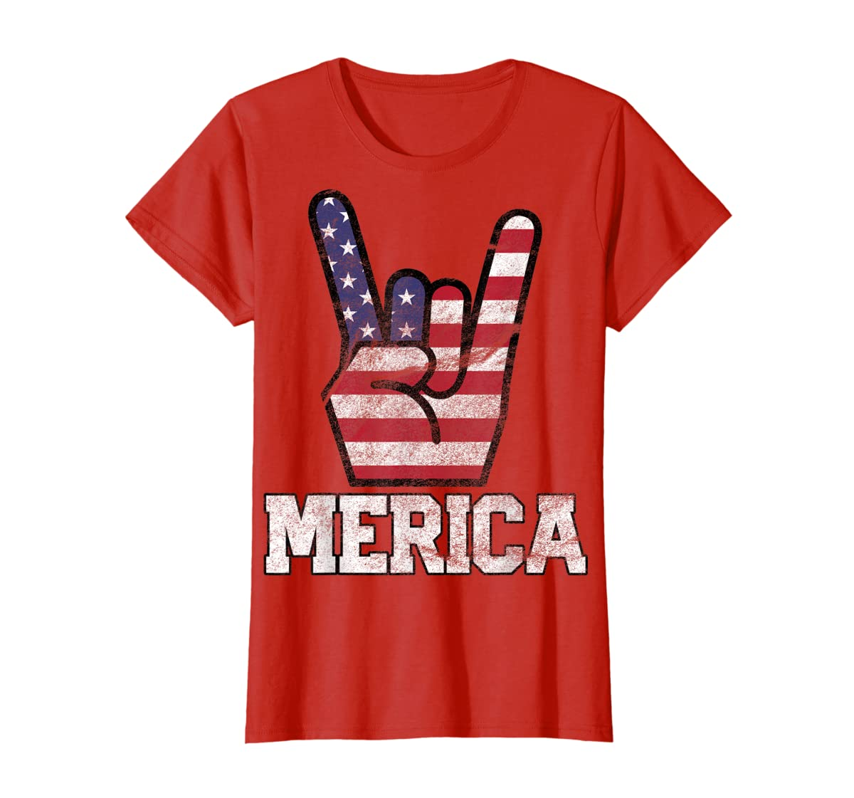 Merica Rock Sign 4th of July Vintage American Flag Retro USA T-Shirt-Women's T-Shirt-Red