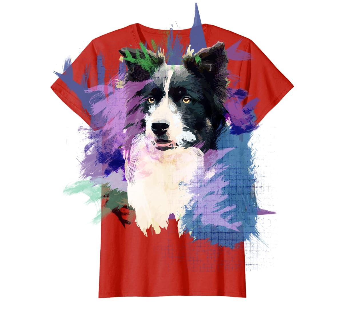Border Collie T-Shirt Splash Art Dog Owner Gift Tee Shirt-Women's T-Shirt-Red