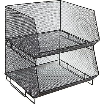 MyGift Deluxe Stackable Metal Wire Mesh Fruit & Produce Basket Rack, Kitchen Stacking Storage Bin, Set of 2