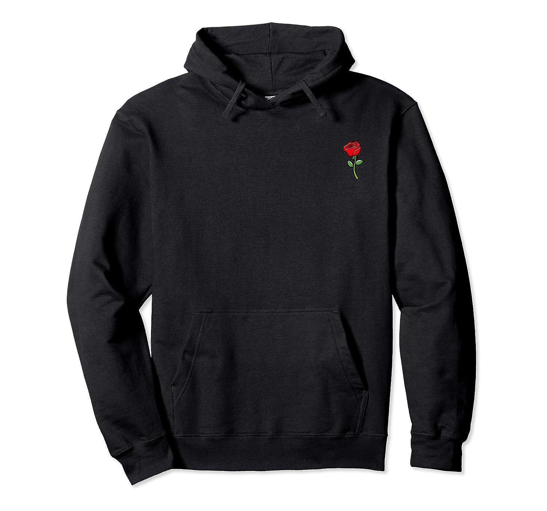 Rose Flower Pocket Corner Trendy Cute Shirts Unisex Pullover Hoodie