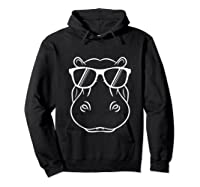 Hippopotamus Lover - Cool Hippo W/ Sunglass Tank Top Shirts Hoodie Black