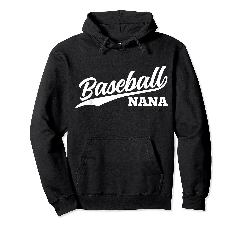 Baseball Nana 1970s Retro Cursive Font Dark Shirts Unisex Pullover Hoodie