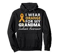 I Wear Orange For My Grandma T Shirt Ribbon Family Warrior Hoodie Black