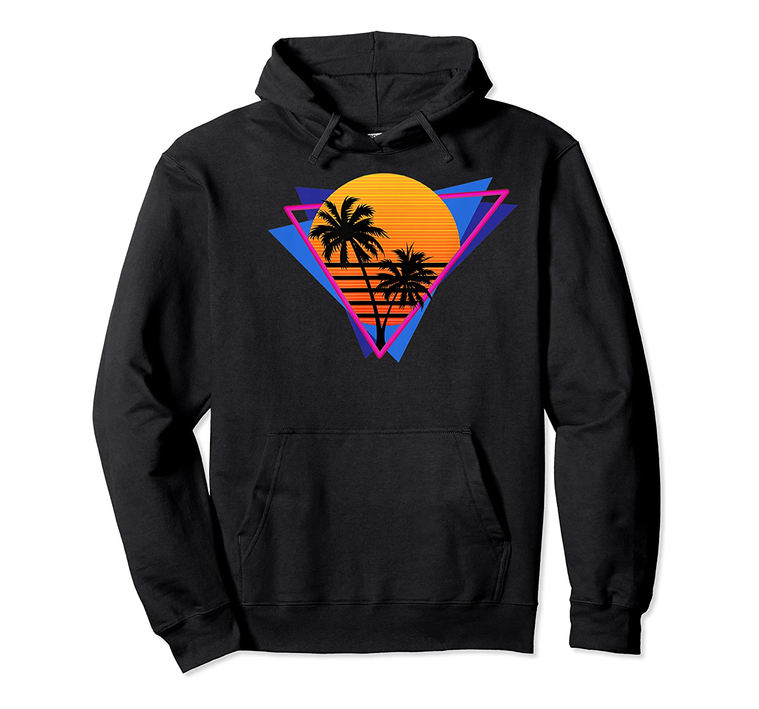 80s Style Synthwave Retrowave Aesthetic Palm Tree Sunset Shirts Unisex Pullover Hoodie
