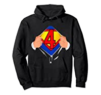 4 Year Old Superhero Birthday Party Super Hero 4th Gift Shirts Hoodie Black