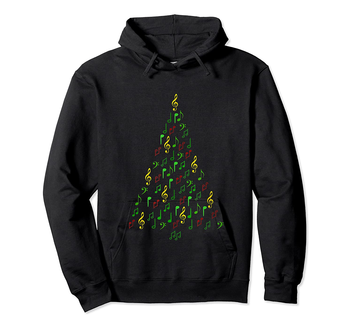Music Christmas Tree With Notes And Clefs For Musicians Shirts Unisex Pullover Hoodie