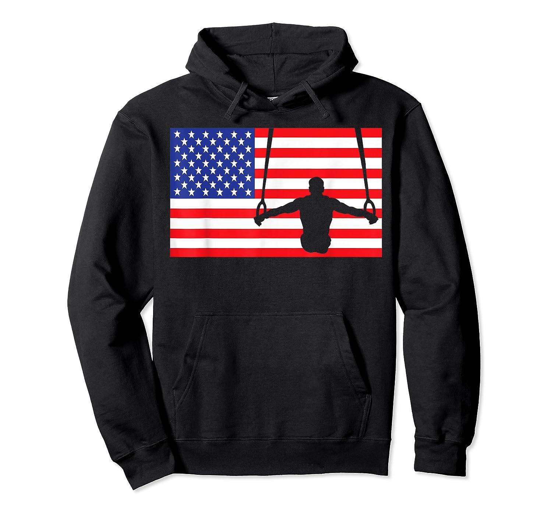Gymnastics Rings Usa American Flag Gymnast 4th Of July T-shirt Unisex Pullover Hoodie