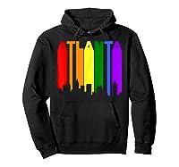 Atlanta Georgia Lgbtq Gay Pride Rainbow Skyline T-shirt Hoodie Black