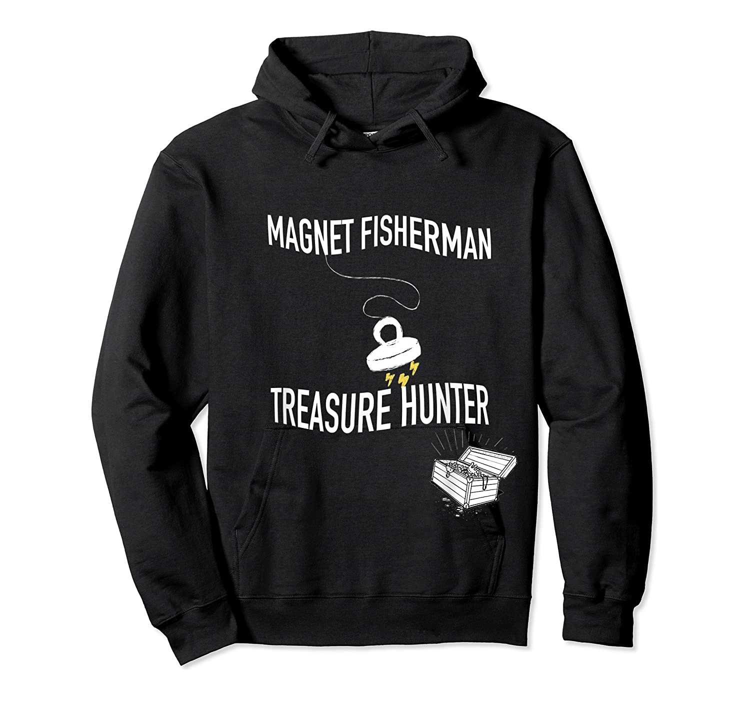 Magnet Fisherman Fishing Treasure Chest Hunting Wave Gift T-shirt Unisex Pullover Hoodie