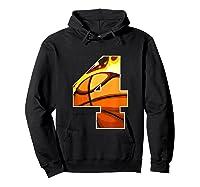 Number 4 Basketball Gift T-shirt Hoodie Black