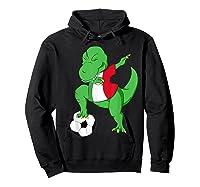 Dabbing Soccer T-rex Mexico Shirt - Mexican Football Hoodie Black