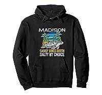 Personalized Madison Design Sassy & Salty Quote Beach Lover Premium T-shirt Hoodie Black