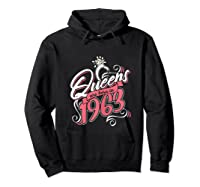 Queens Are Born In 1963 Bday Flamingo Gifts 57th Birthday T-shirt Hoodie Black