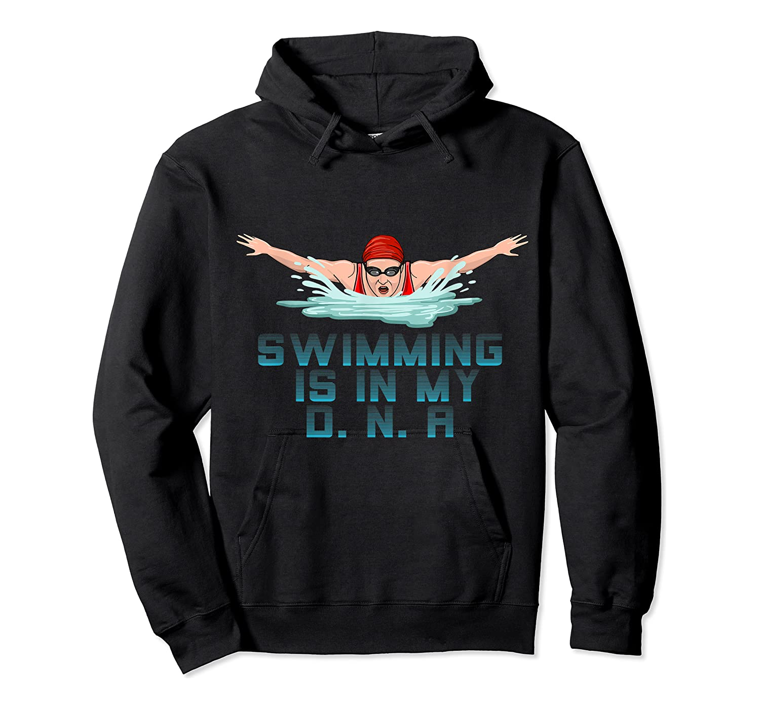 Swimming Cap Goggles Swim Love Funny Swimmer Girl Dna Shirts Unisex Pullover Hoodie