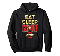 Eat Sleep Scout Repeat Funny Scouting Gift Shirts Hoodie Black