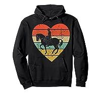 Dressage Vintage Design Retro Horseback Riding Heart Sport Shirts Hoodie Black