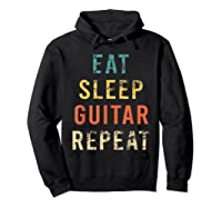 Retro Eat Sleep Guitar Repea Player Tea Rock Band Shirts Hoodie Black
