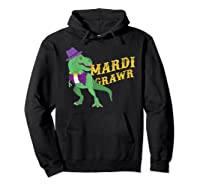 Mardi Grawr T Rex Dinosaur Mardi Gras Bead T Shirt T-shirt Hoodie Black